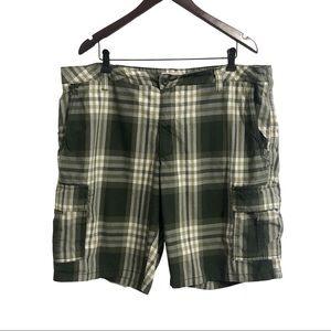 Denver Hayes green plaid cargo shorts. 40